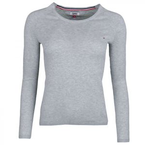 PULL Pull col rond fin Tommy jeans gris liséré blanc po