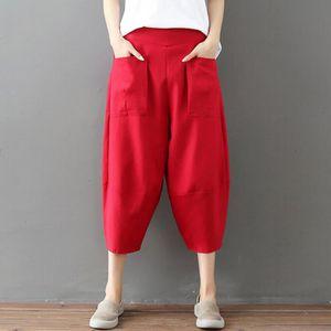 PANTALON Femmes Casual taille élastique Coton et lin solide