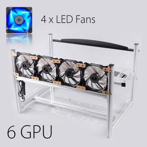 BOITIER PC  6 GPU Aluminum Open Air Mining Miner Rig Stackable