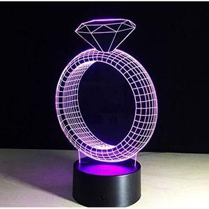 LAMPE A POSER #1917♥Veilleuse 3D Lampe Diamant Anneau 7 Couleur