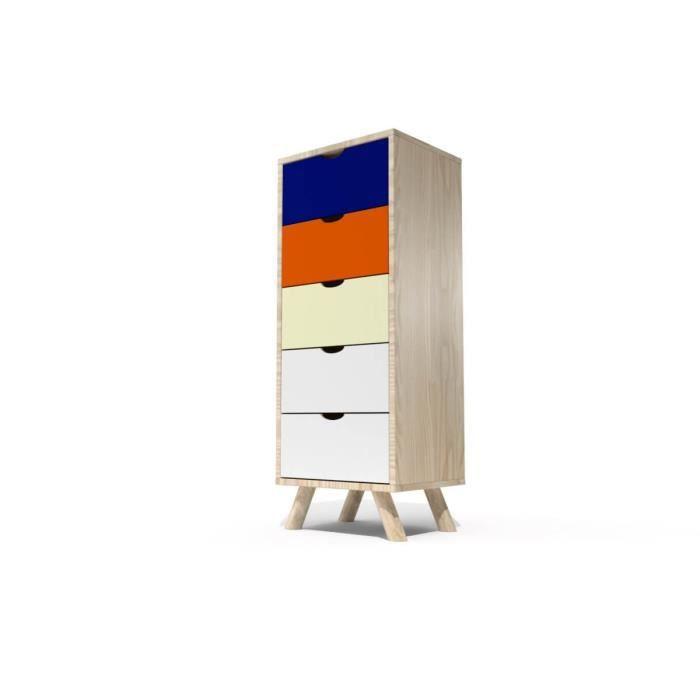 Chiffonnier 5 tiroirs Viking Scandinave bois (Bleu pétrole, Orange, Ivoire, Blanc)