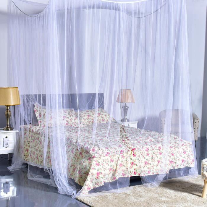 COSTWAY Moustiquaire de Lit Baldaquin pour Lit Double Protection des Insectes 220 x 200 x 210 CM Blanc