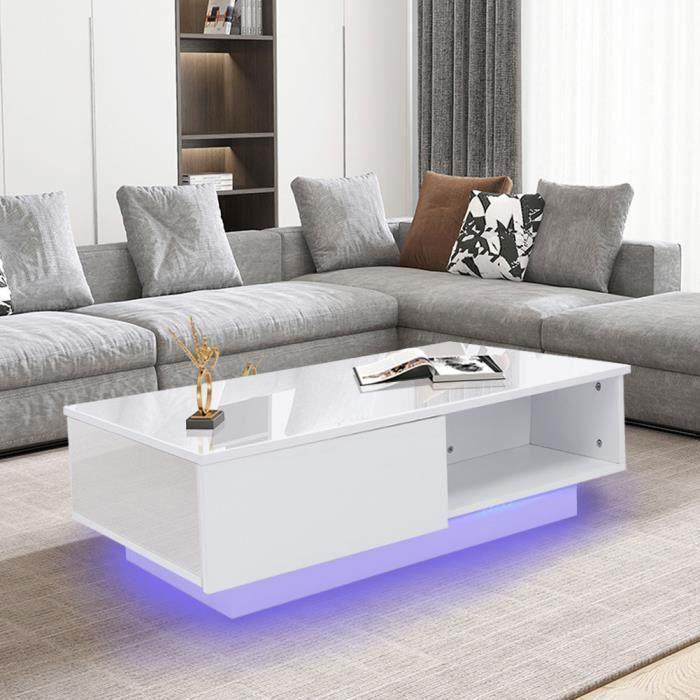 Table de rangement de salon de table basse rectangulaire rectangulaire blanche moderne avec lumière LED (prise 220V UE)