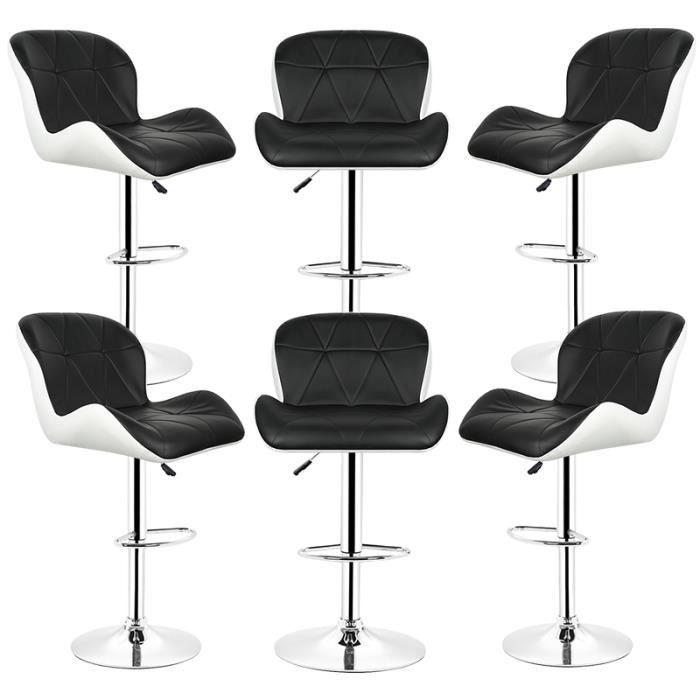 OUI-Chaise Tabouret de bar lot de 6 Noir Luxe en similicuir Rotation à 360° Hauteur réglable
