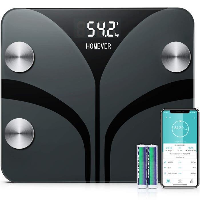 Pèse Personnes Impédancemètre, Homever Balance Pese Personne avec 13 Données physiques, Balance Connectée APP Analyse Graisse, Ma