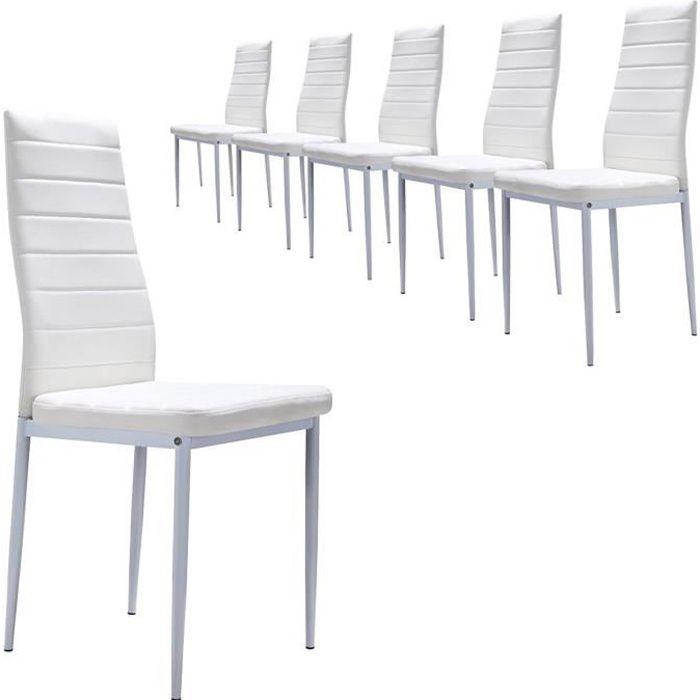 Lot de 6 chaises design en simili cuir couleur BLANC