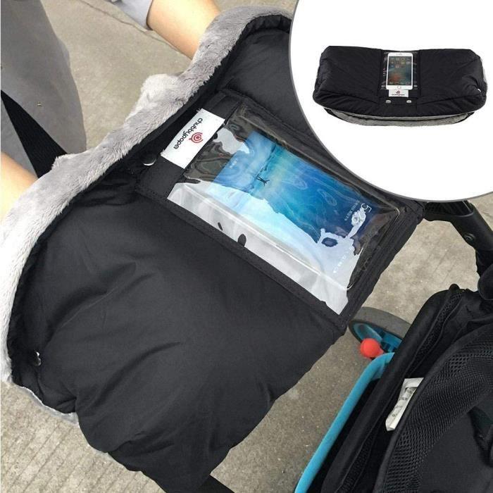 Bébé Poussette Gants Chaud en Peluche Protection Antigel Main Couvre Gant Manchon Coupe-vent Avec poche pour Téléphone, Noir