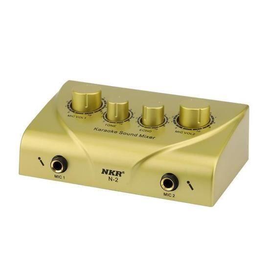 Karaoke Digital Mixer Audio Mixer son Echo pour double micro entrées avec câble GD xuanaodo4028