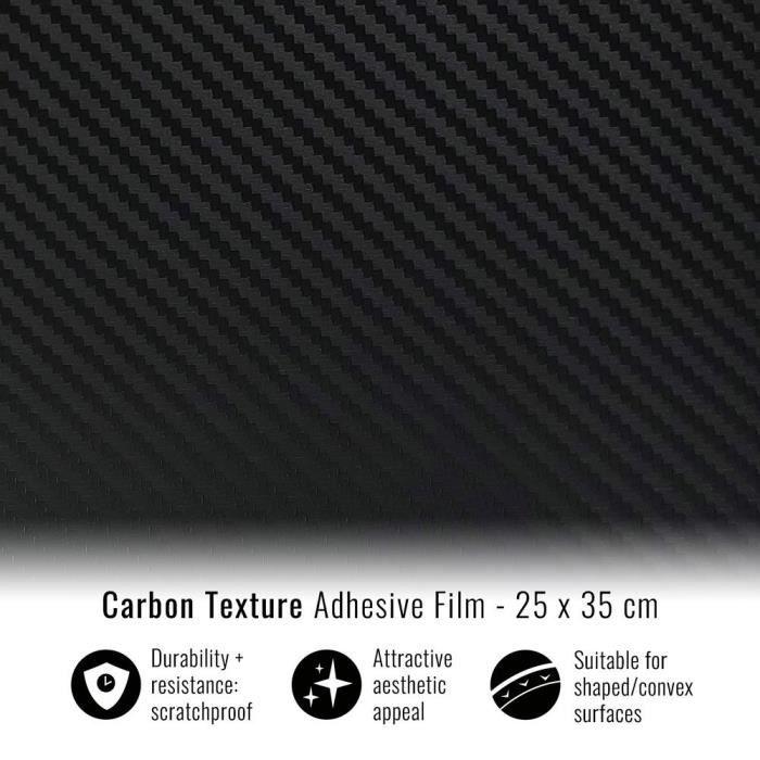 Film Adhésif Wrapping pour Voitures, Effet Carbone , 25 x 35 cm