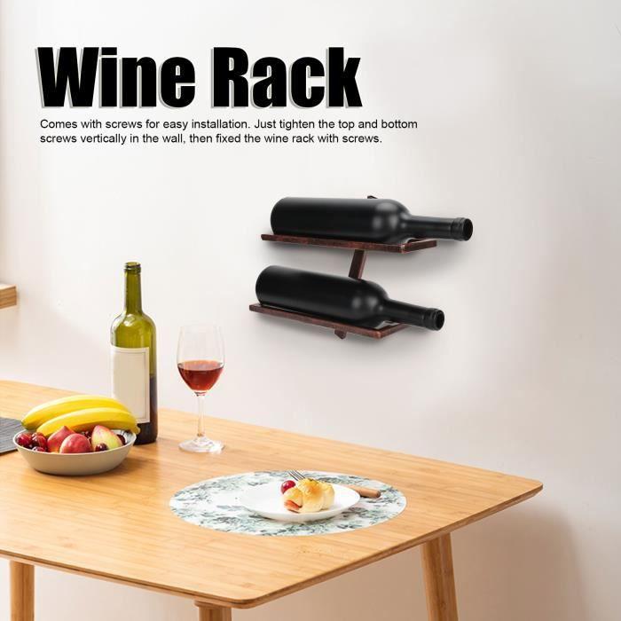 Porte-bouteilles Étagère murale rustique de support de bouteille de vin de casier à vin pour l'armoire de salle à manger HB032