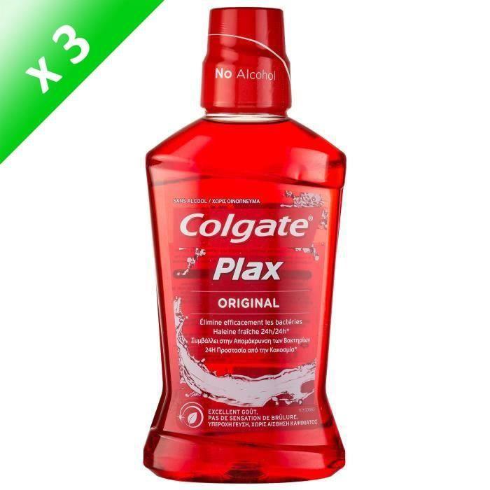 COLGATE PLAX Bains de bouche Original 24h - 500 ml - Sans alcool - Lot de 3