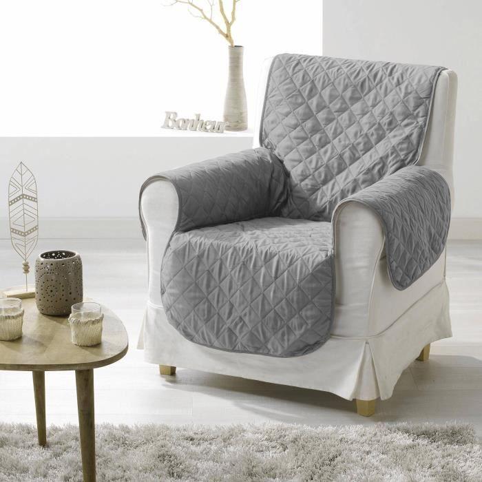 CDaffaires Protege fauteuil matelasse 165 x 179 cm microfibre unie club Gris