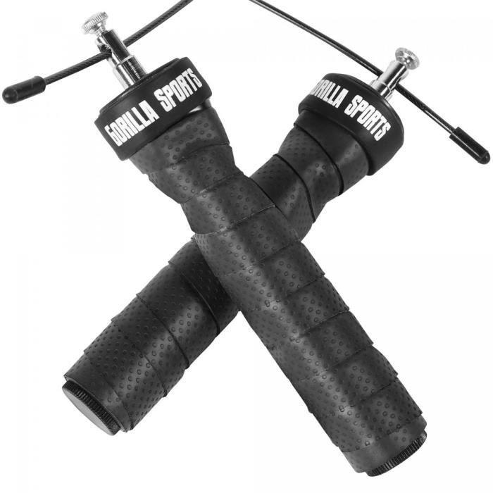 Corde à sauter professionnelle noire-rouge avec sac et poids additionnels inclus