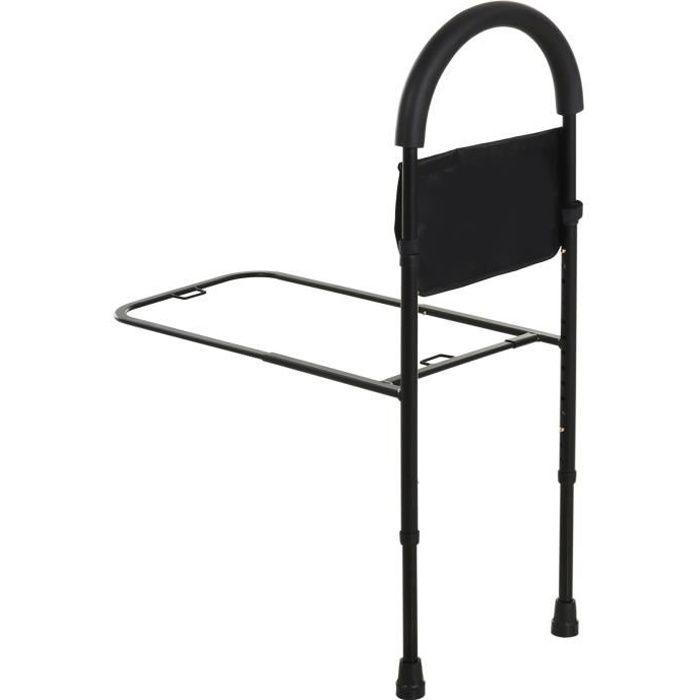 Barre de redressement de lit réglable en hauteur - poignée d'appui pour le lit - barre d'appui de lit - acier noir 36x72x110cm
