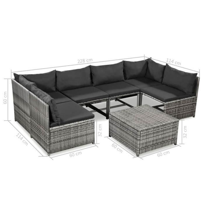 Jeu de canapé de jardin 21 pcs Salon de Jardin Résine Tressée pour patio gris avec coussin : gris foncé