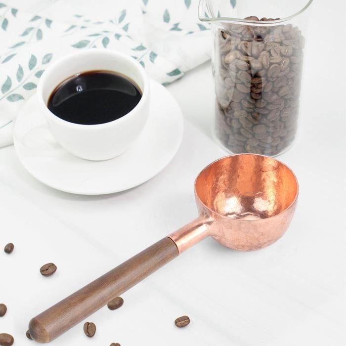 ELEC-Lv.life☀Cuillères à café en grains Scoop manche en bois pour thé sucre sel outils fournitures de cuisine☀GOL
