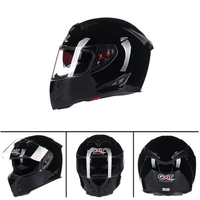 Casque De Moto Intégral Double Visière Casque De Scooter Pour Adulte Homme Femme Motif Noir Brillant