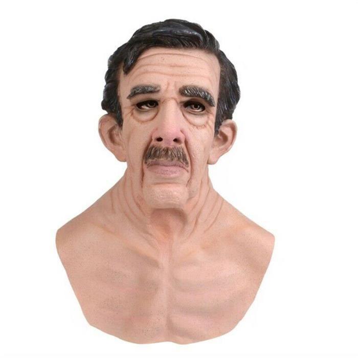 Halloween vieil homme masque latex Halloween costume réaliste accessoires de fête masque coiffe -- Vieil homme avec barbe