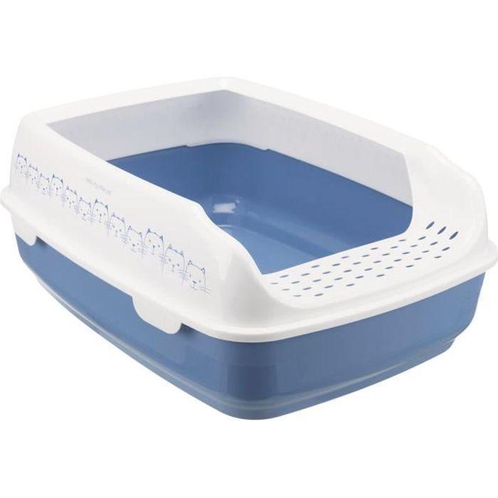 Bac à litière Delio - Avec rebords - 35 × 20 × 48 cm - Bleu et blanc