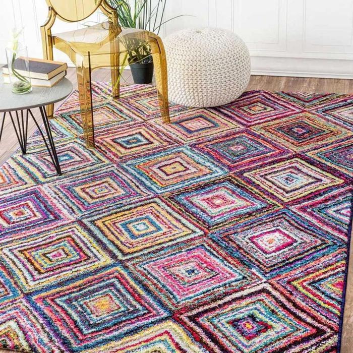 Tapis colore CARRE BOUTIK multicouleur 60x120, par Unamourdetapis, Tapis moderne 60 x 120 cm Multicolore