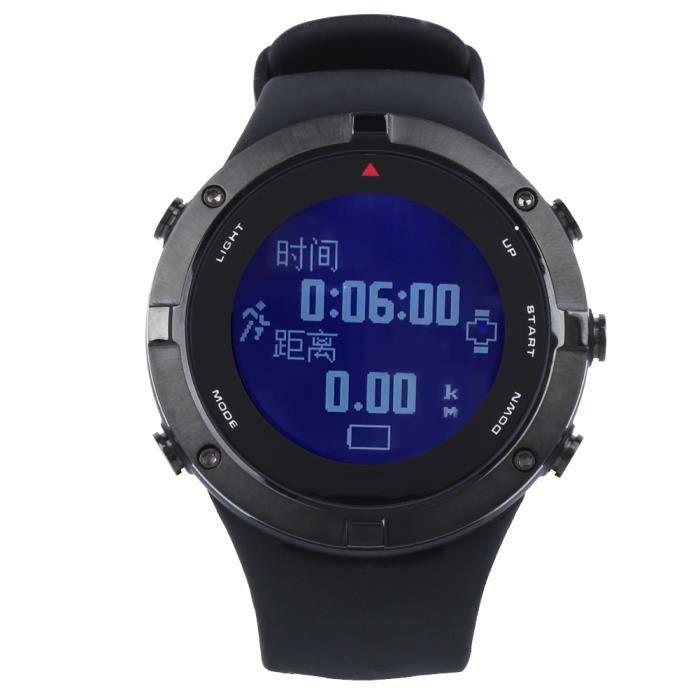 LANG FR934B Montre intelligente de sport d'extérieur noire GPS fréquence cardiaque plongée boussole baromètre d'altitude températur