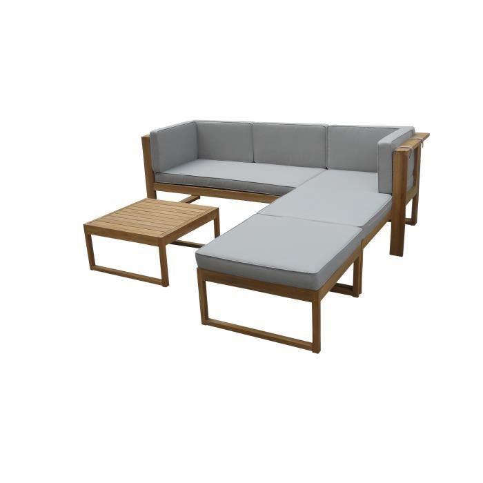 Salon bas de jardin Salon de jardin en bois d'acacia FSC 4 personnes E
