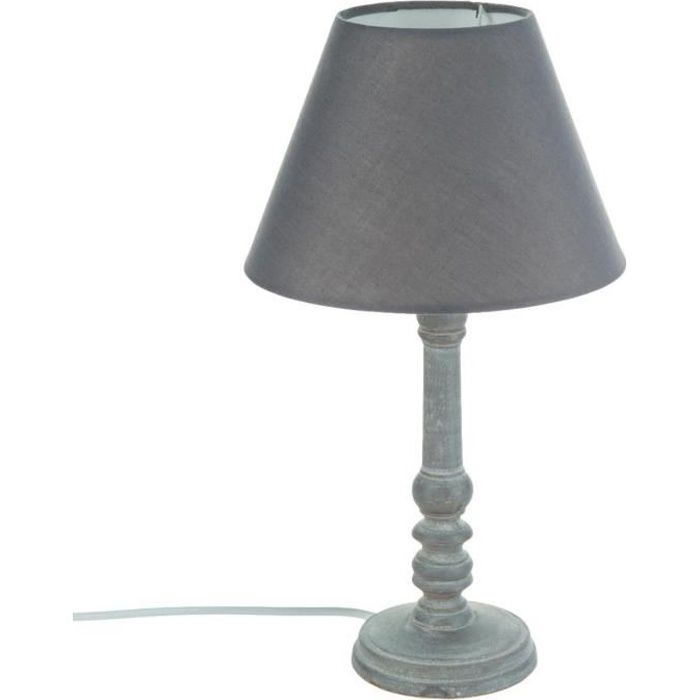 lampe pied en bois vieilli gris achat vente lampe. Black Bedroom Furniture Sets. Home Design Ideas