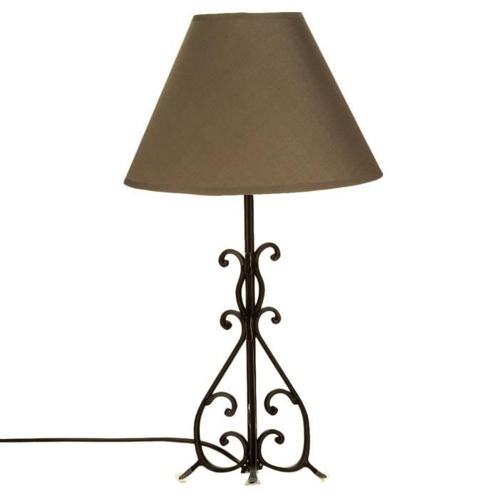 lampe pied arabesque m tal taupe achat vente. Black Bedroom Furniture Sets. Home Design Ideas