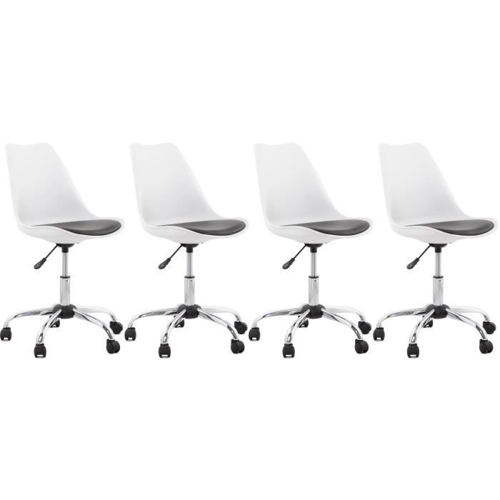 Office lot de 4 chaise de bureau blanc noir achat for Chaise de bureau noire