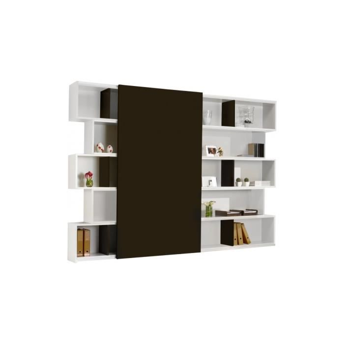 biblioth que design laque blanc brillant porte coulissante achat vente biblioth que. Black Bedroom Furniture Sets. Home Design Ideas
