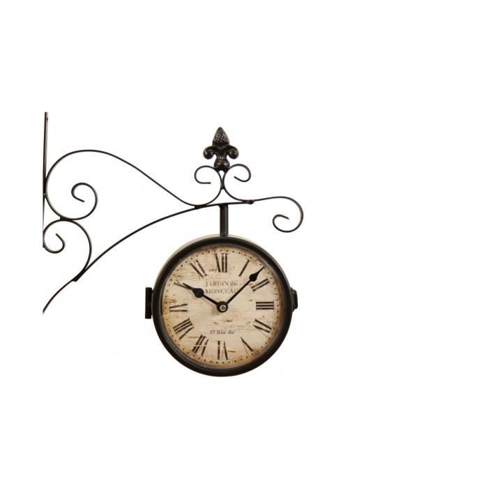 horloge de gare ancienne double face jardin de achat vente horloge fer cdiscount. Black Bedroom Furniture Sets. Home Design Ideas