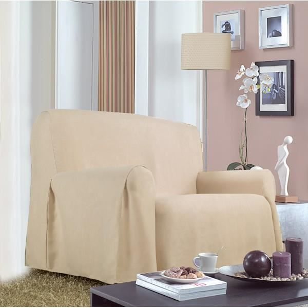 housse canap 1place saly beige achat vente housse de canap cdiscount. Black Bedroom Furniture Sets. Home Design Ideas
