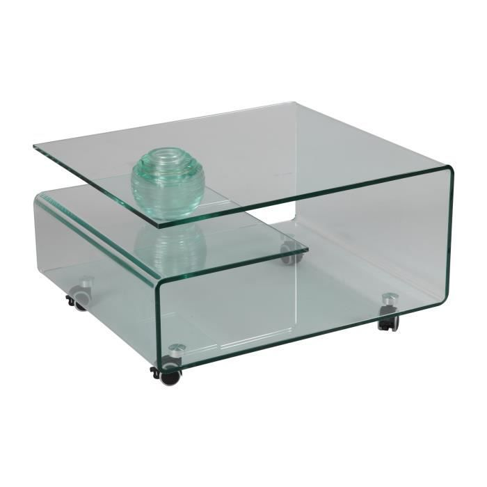 Table basse rectangulaire roulettes en verre tremp - Table basse de la maison ...