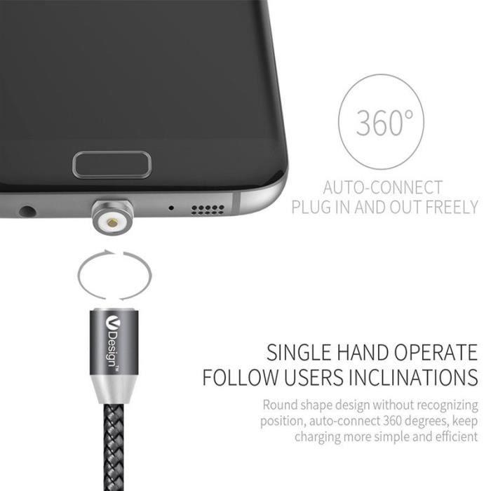 CÂBLE RÉSEAU  Noir 2M 360 ° Rond Magnétique Adaptateur USB Type-