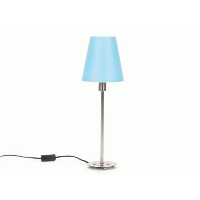 lampe de table sur pied abat jour bleu 52cm achat. Black Bedroom Furniture Sets. Home Design Ideas