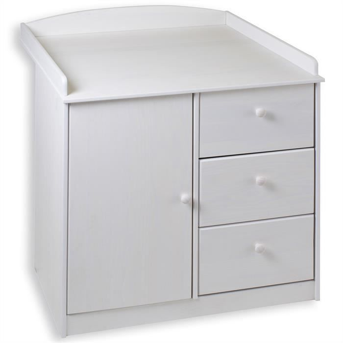 Commode table langer rondo pin massif lasur blanc blanc - Plan a langer a fixer sur commode ...