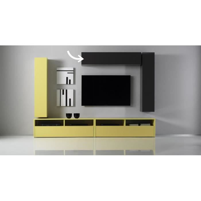 Miliboo el ment mural tv colored horizontal o achat for Meuble horizontal mural