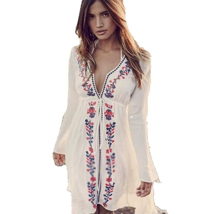 minetom mini robe plage femme et sexy col v manches longues broderie caftan blanc blanc achat. Black Bedroom Furniture Sets. Home Design Ideas