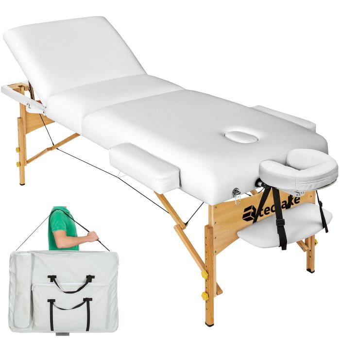 Table de massage pliante 3 zones blanc 13 cm d 39 paisseur housse de tr - Table massage pliable ...