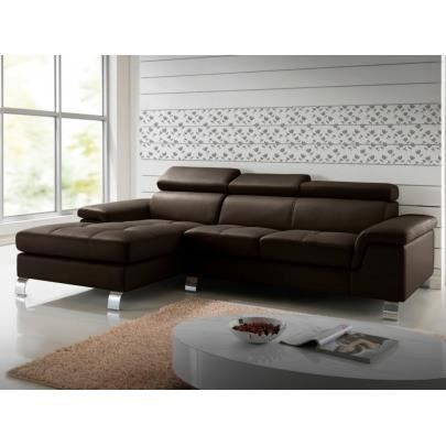 canap d 39 angle cuir mishima chocolat angle gau achat vente canap sofa divan cdiscount. Black Bedroom Furniture Sets. Home Design Ideas
