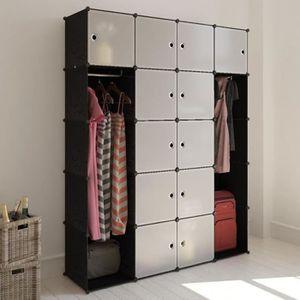 ARMOIRE DE CHAMBRE Cabinet modulable penderie armoire noir et blanc A