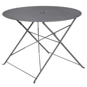 Table ronde pliante en metal