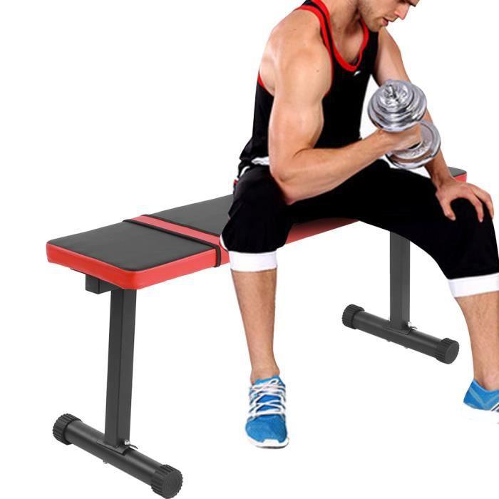 Banc de Musculation, Banc d'haltères, Réglable en Hauteur Charge Max. 300 kg Banc Plat d'exercice, Fitness Banc Maison Bureau -