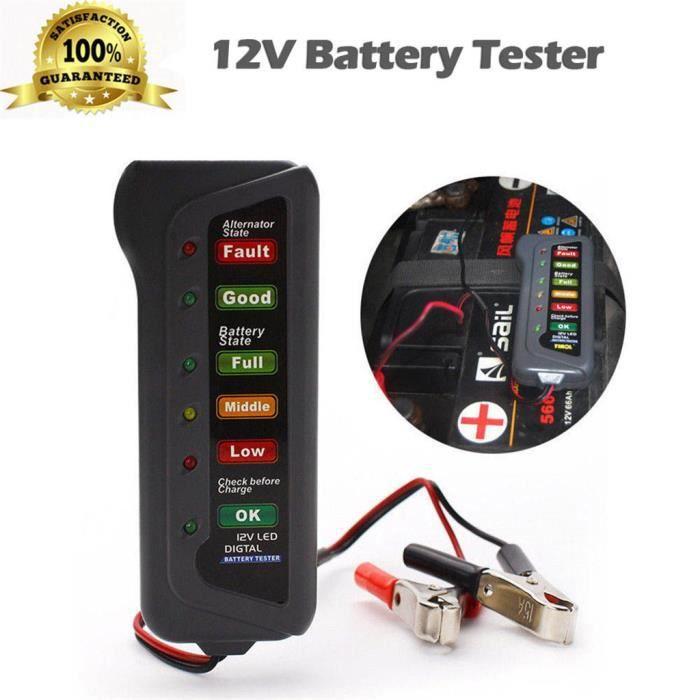 Testeur d'alternateur de batterie numérique de voiture 12 V 6 LED outil de diagnostic d'affichage de lumières _YU7536