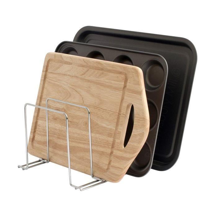 Support plats de four, plateaux et planches à découper – range-casseroles – Organiseur de cuisine – Chrome
