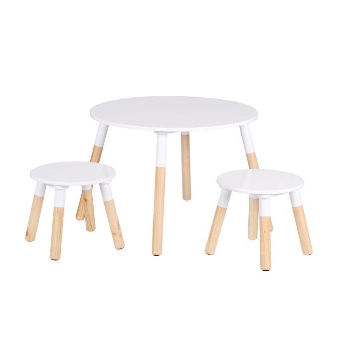 Table scandinave avec 2 tabourets Dream pour enfant Autres Blanc