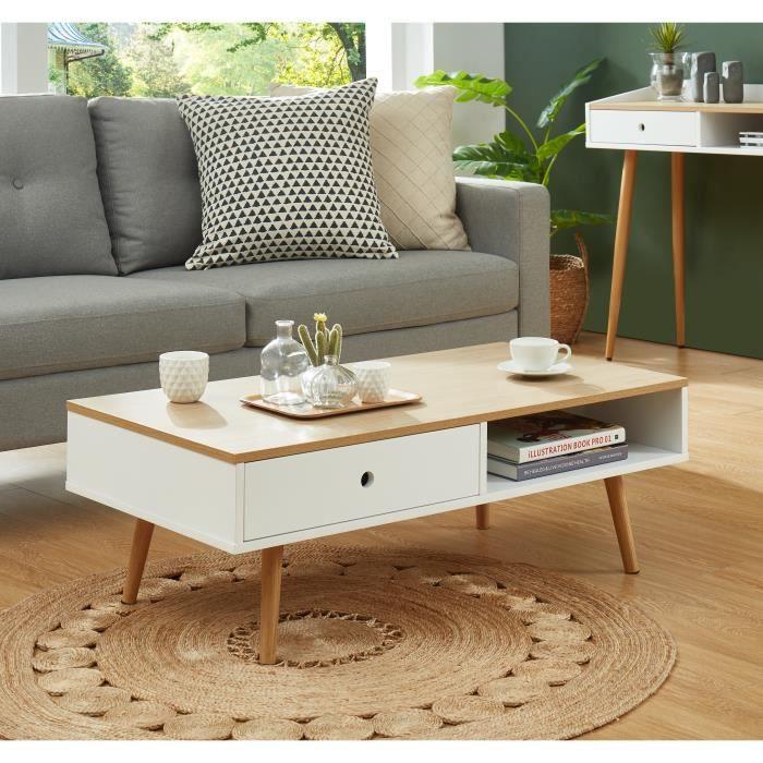 CALDERA Table basse, laqué blanc mat et plateau coloris bois