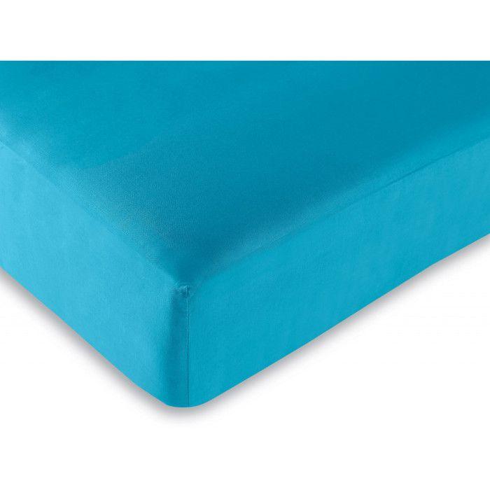 Drap housse 57 fils/cm² toutes dimensions - Couleur: drap housse Turquoise-Turquoise$Bleu - Taille de drap housse: 140 x 190 cm