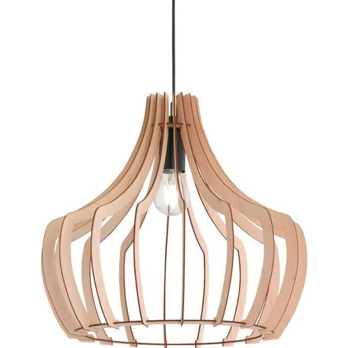 Éclairage suspension luminaire plafond lustre bois salle de séjour chambre cuisine