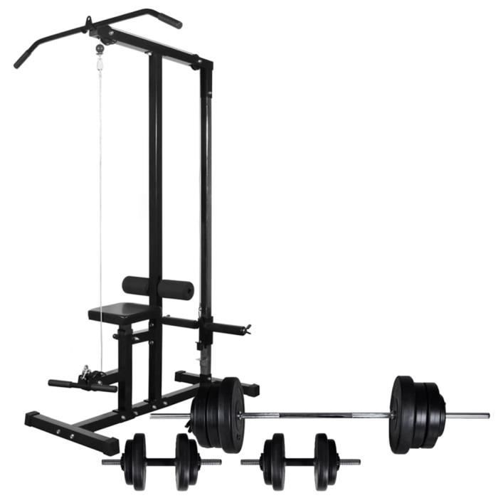 Magnifique -Tour de musculation Appareil de musculation - Station de Musculation avec jeu d'haltères et poids 60,5 kg